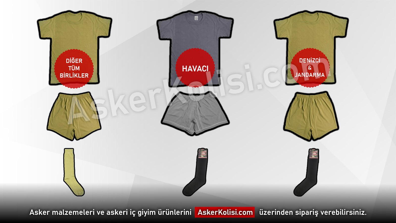 havaci denizci jandarma asker kiyafet renkleri ic giyim asker malzemeleri